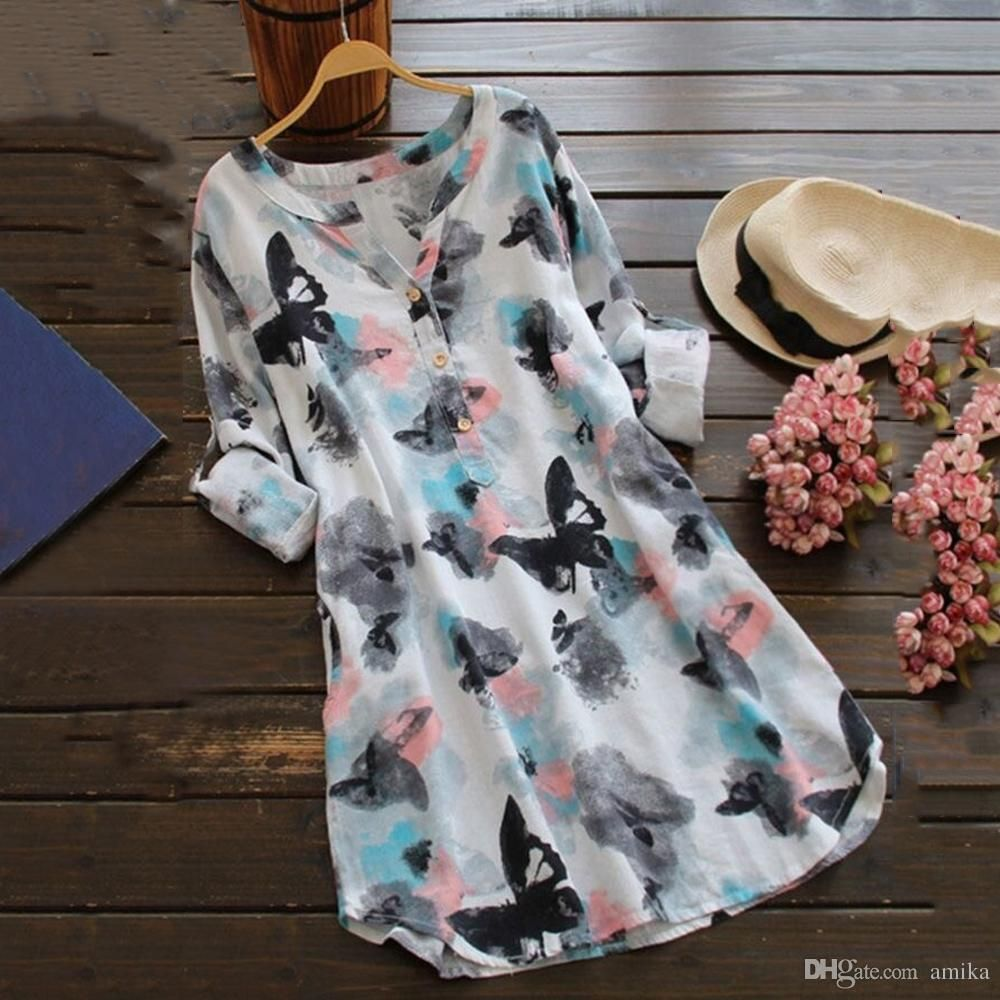 11adb63f A blouse with floral pattern versatile combine Butterfly Flower Long Sleeve  Autumn Women Chiffon Blouse Floral Print Long Tops Shirts Plus Size Women  Blouse ...