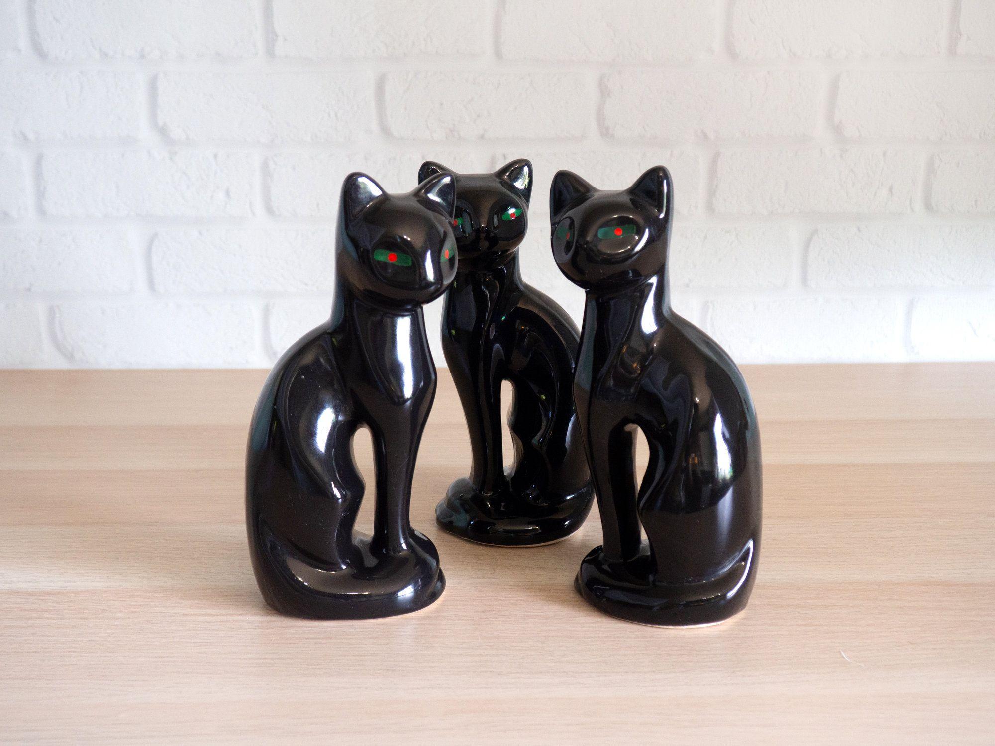 Mid Century Modern Siamese Cat Black Statuettes Trio With