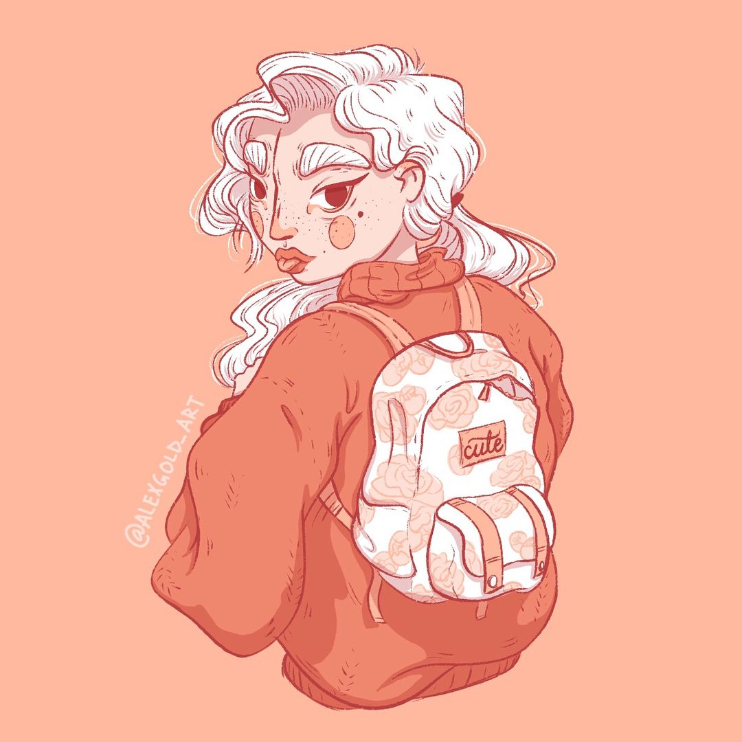 Oversized Cozy Sweater And Floral Backpack, White Hair