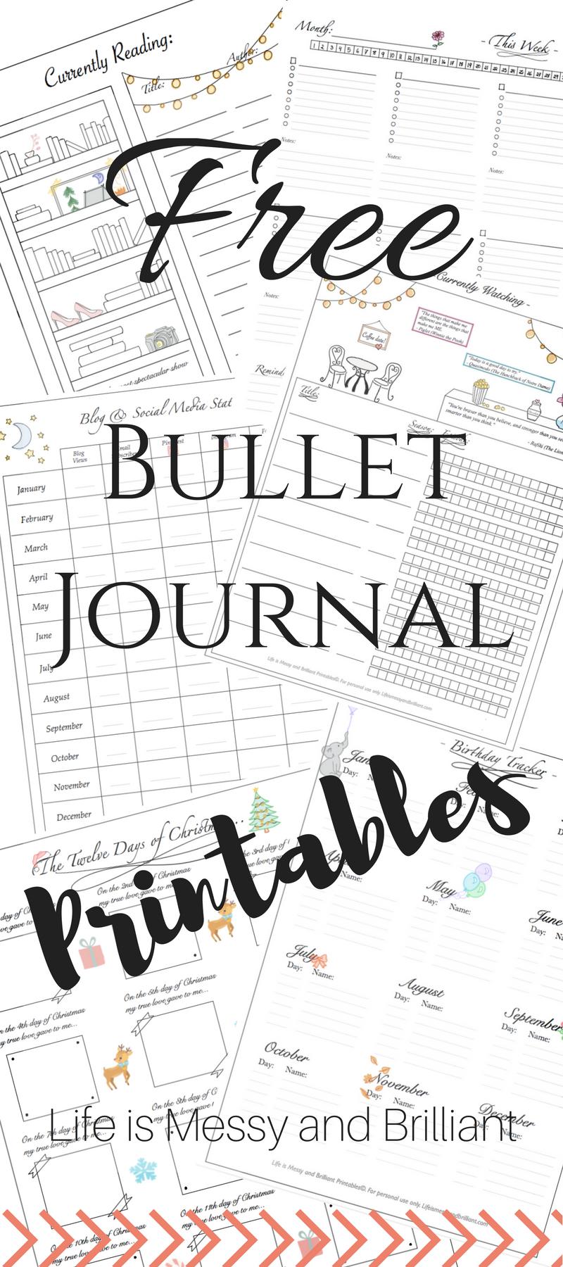Free Bullet Journal Printables Bullet Journal Printables Journal Printables Free Journal