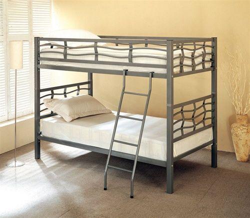 Wave Dark Silver Twin Metal Bunk Bed