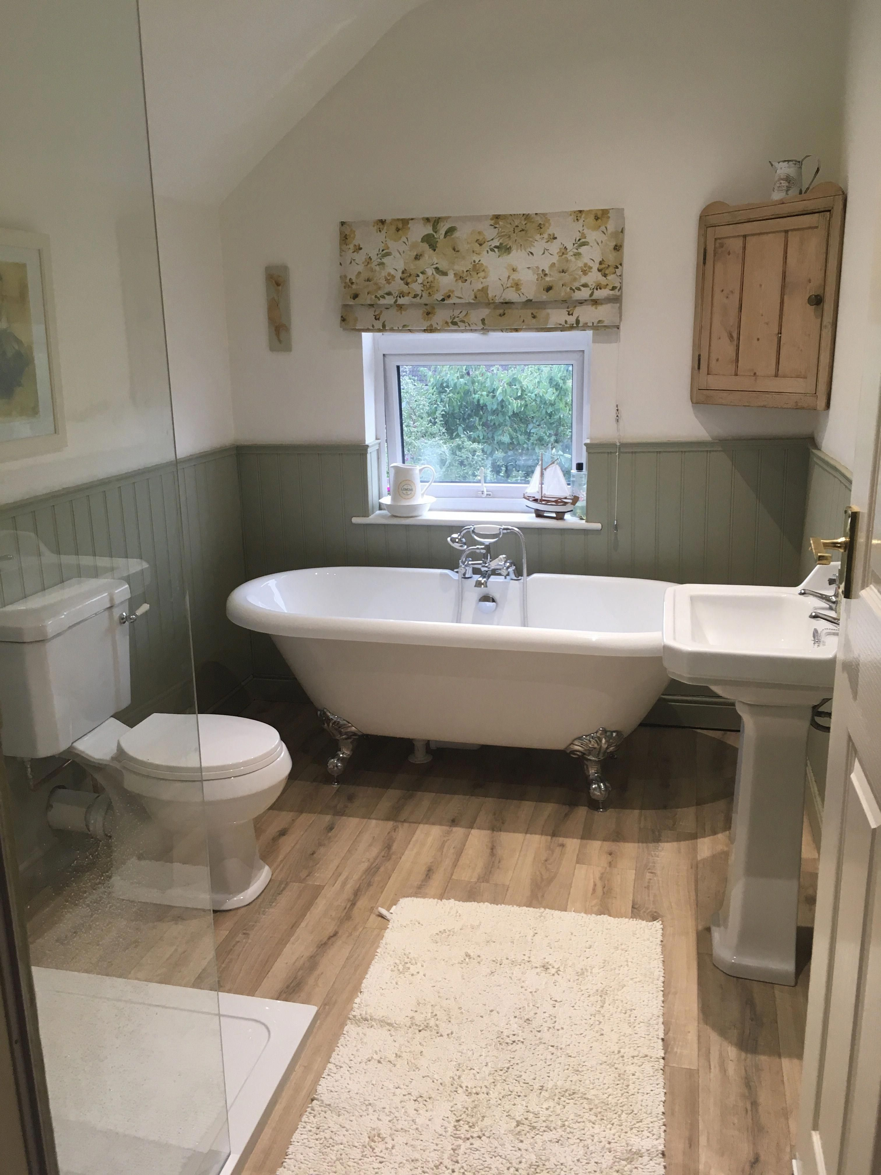 My Finished Bathroom With Tongue And Groove Panelling Finished In Farrow And Ball Fr Tongue And Groove Panelling Traditional Bathroom Bathroom Interior Design
