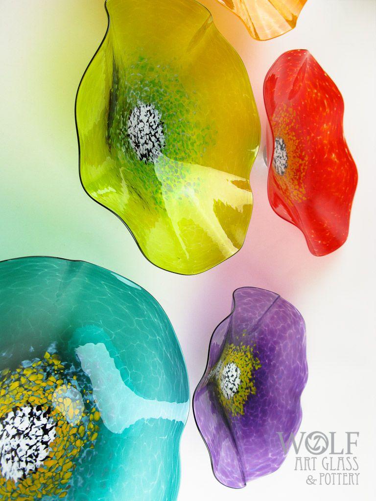 Blown Glass Wall Art Sculptures, Flowers, & Rondels at Blown Glass Wall Art Flowers @ Wolf Art Glass