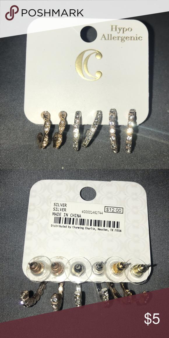 Hoop Earrings 6pk set Silver colour BNWT