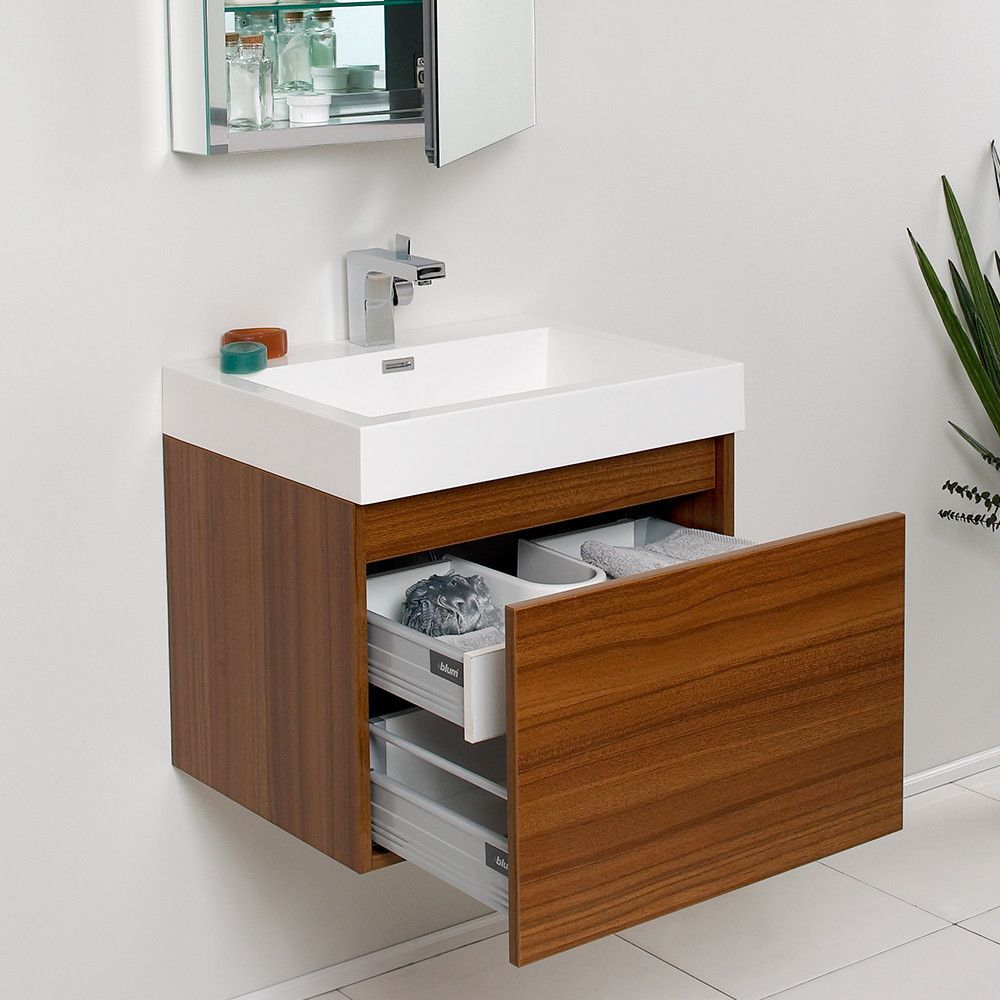 Fresca Nano Teak Modern Bathroom Vanity W Medicine Cabinet Small Bathroom Cabinets Small Bathroom Vanities Bathroom Cabinets Designs