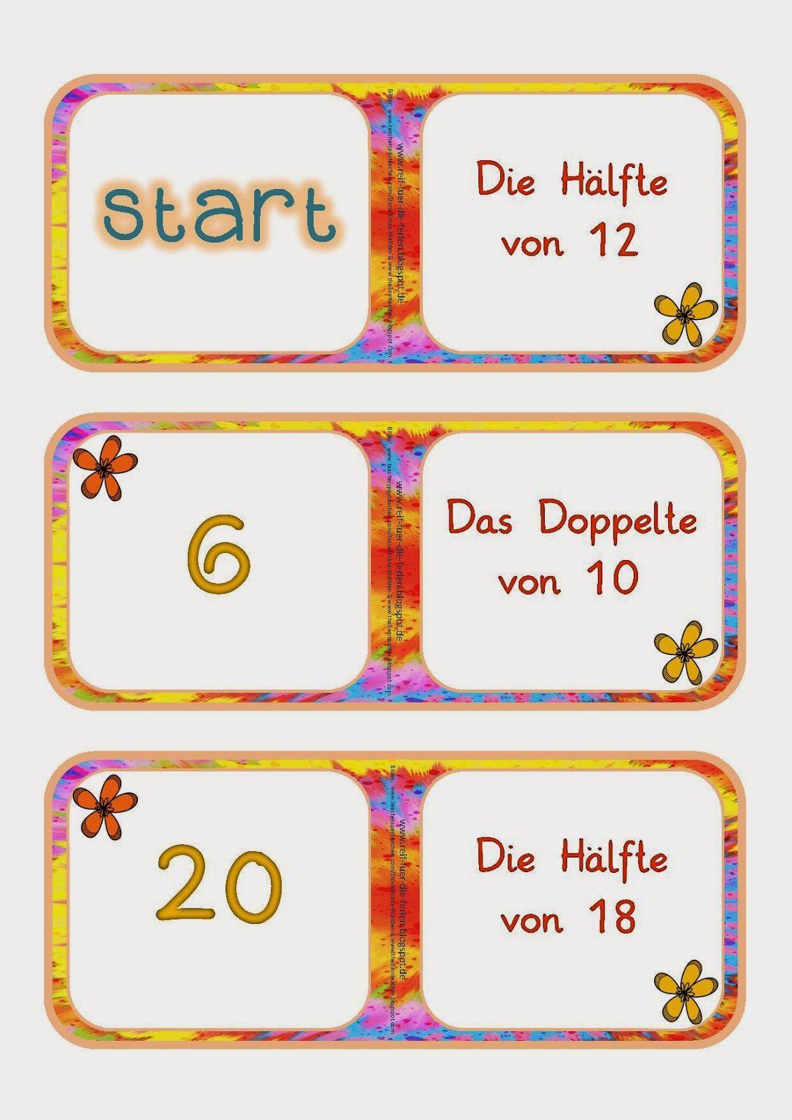 Domino - Doppelte und Hälfte bis 20   Mathe Klasse 1   Pinterest ...