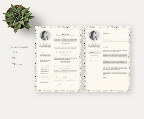 floral pattern resume template cv cover letter workshop