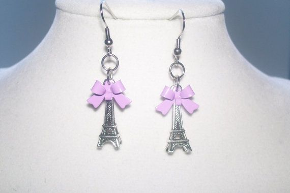 Eiffel Tower Earrings with Lilac Bows by WinningWreaths on Etsy