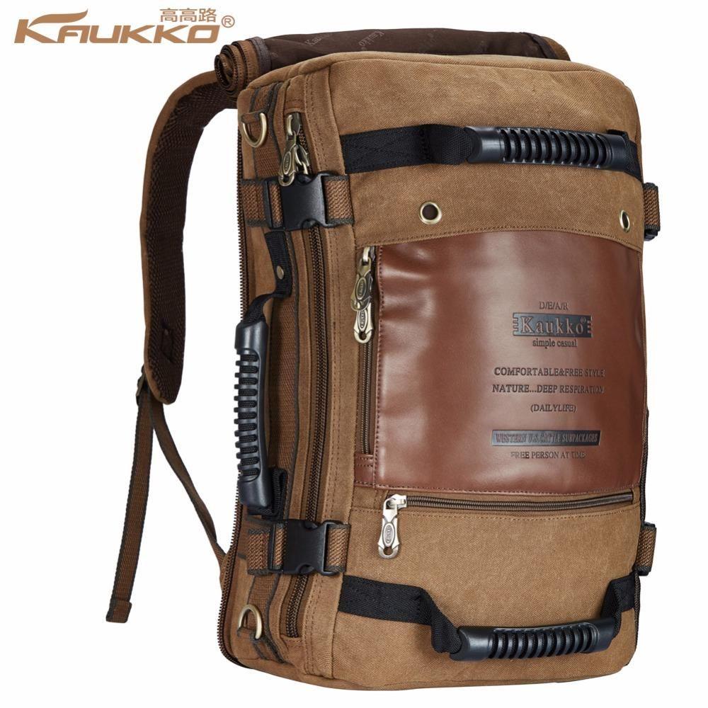 Kaukko Men Backpack Canvas Huge Travel School Shoulder Computer Backpacking  Functional Versatile Bags Multifunctional Laptop Bag 1268390967