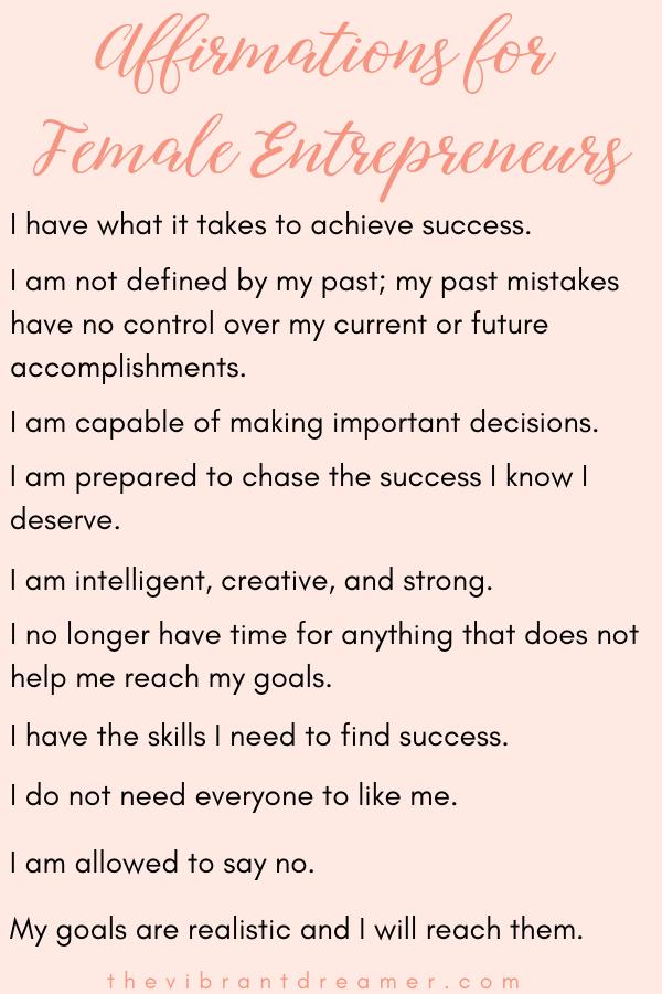 10 Affirmations for Female Entrepreneurs