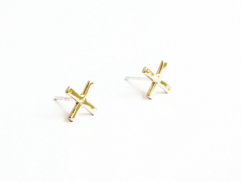 14k Gold X Earrings Small 14kt Studs By Stefaniesheehan 160 00