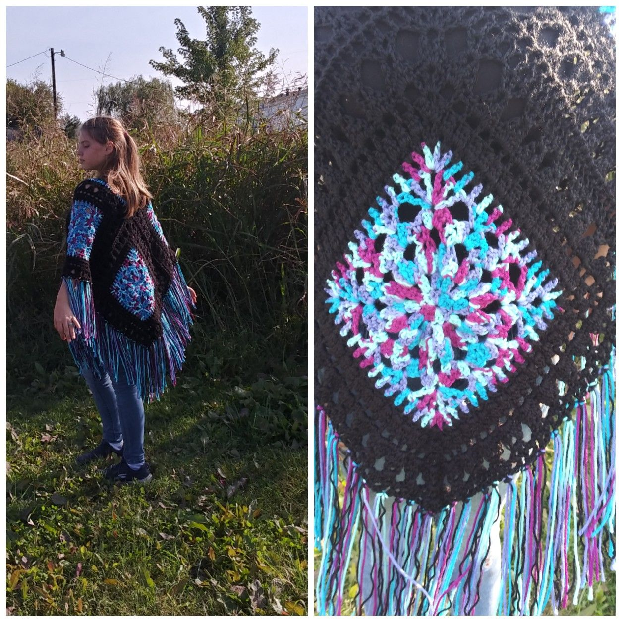 Stained Glass, Poncho,Boho Clothing, Hippie Gypsy Clothes, Women's Boho Clothes, Crochet Shawl, Poch