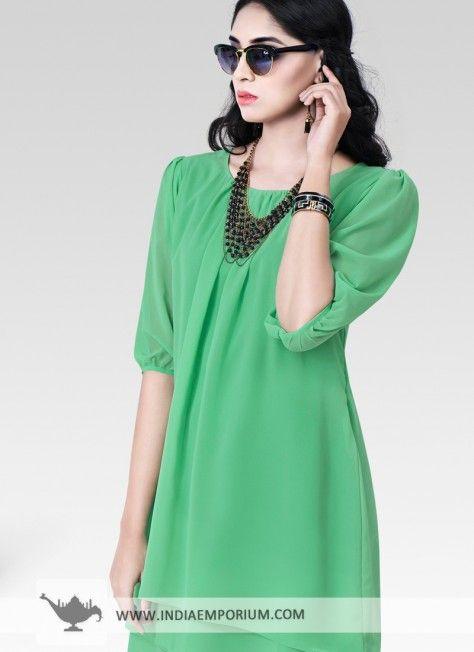 Green Impressive Georgette Kurti #Green #Kurti #Solidcolor #OOTD #OutfitOfTheSummer #Summertrend #Indiaemporium