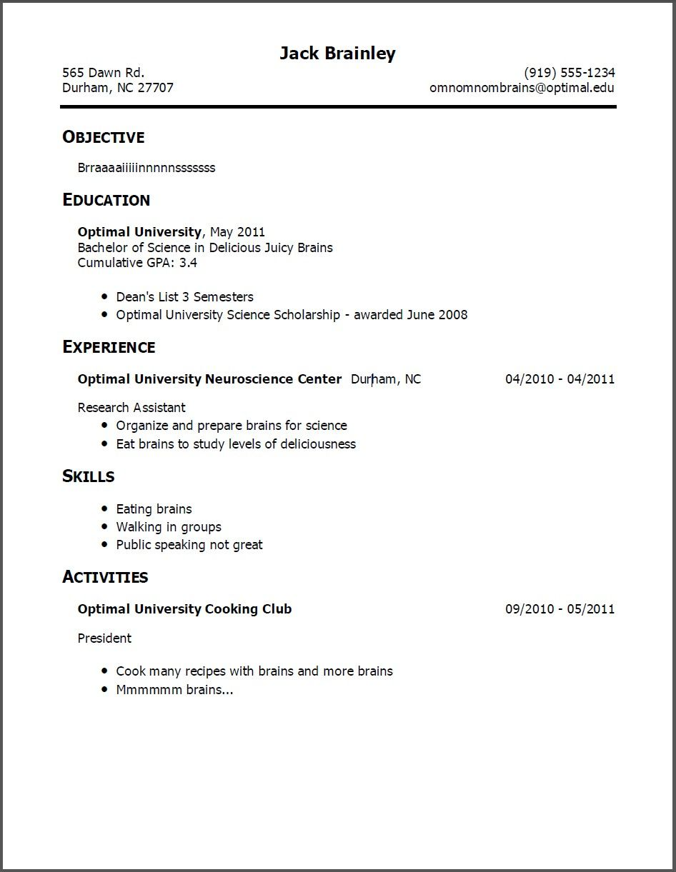 simple resume template for someone with little work experience