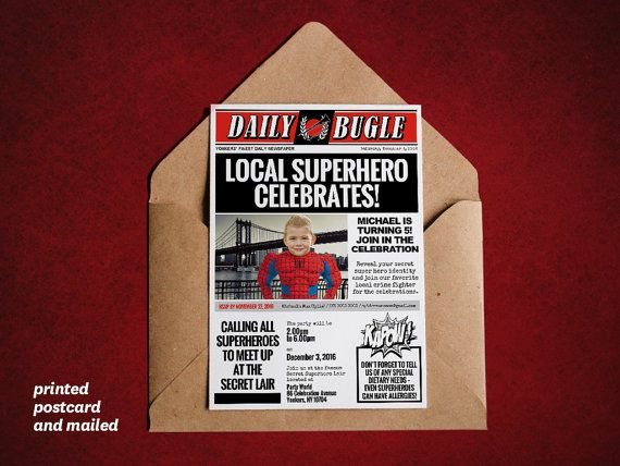 DIY Superhero Newspaper Invitation Template for a Spiderman themed