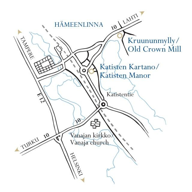 Location of Katinen Manor in Hämeenlinna