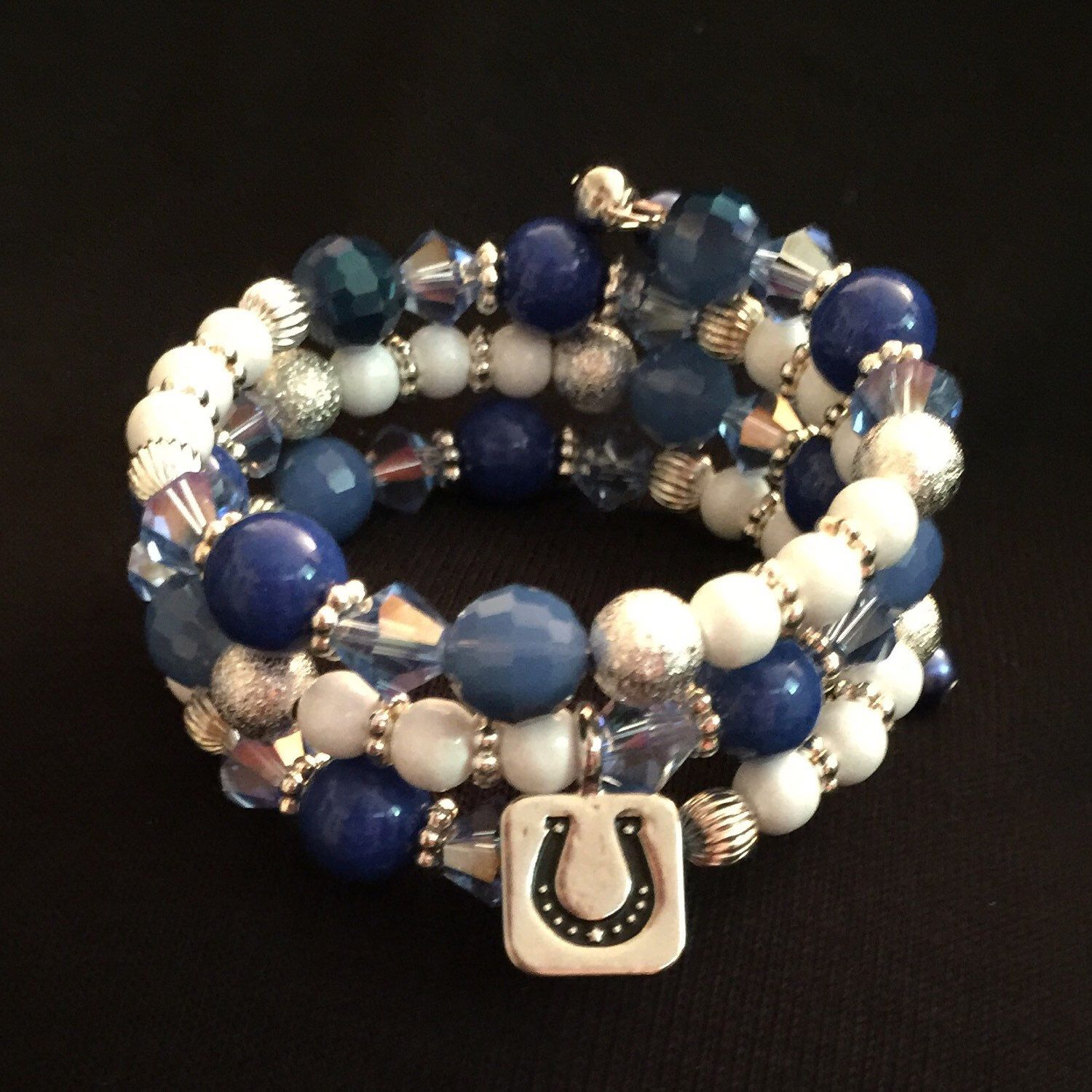 🏈 Go Colts!! 🏈 Custom, made to order NFL memory wire wrap bracelets!  (Any team available)