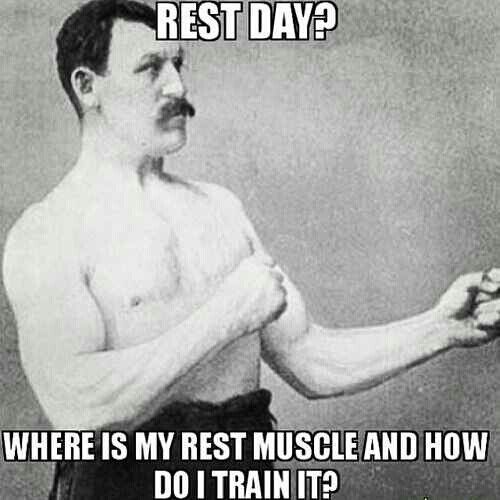 Ahahaaaa... C'mon, you need at least 1 rest day!  funny, humor, quotes #fastsimplefit  Get Free Fitness and Weight Loss News and Tips by Liking Us on: www.facebook.com/FastSimpleFitness