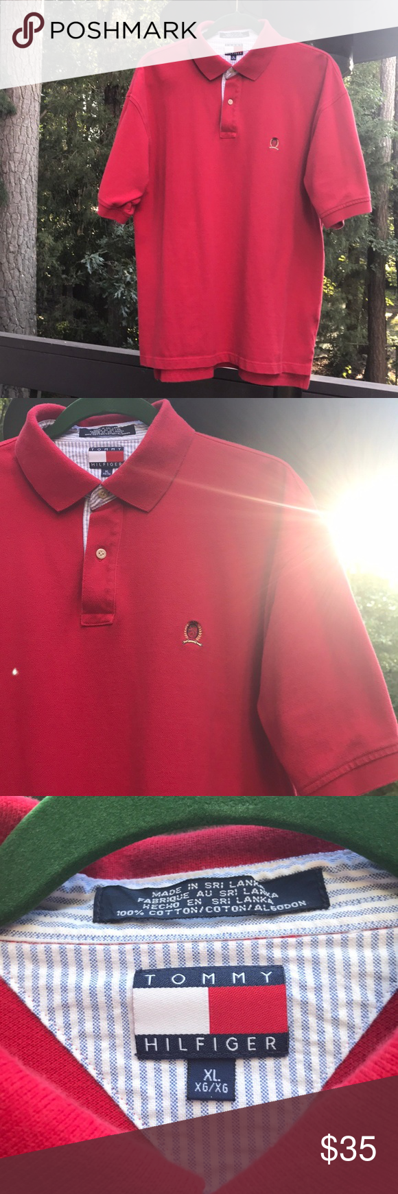 6bd1e429 Men's Vintage Tommy Hilfiger Polo Shirt Men's XL Vintage Red Tommy Hilfiger  Polo Shirt. Excellent Condition. Classic Polo Shirt. SIZE: Extra Large.