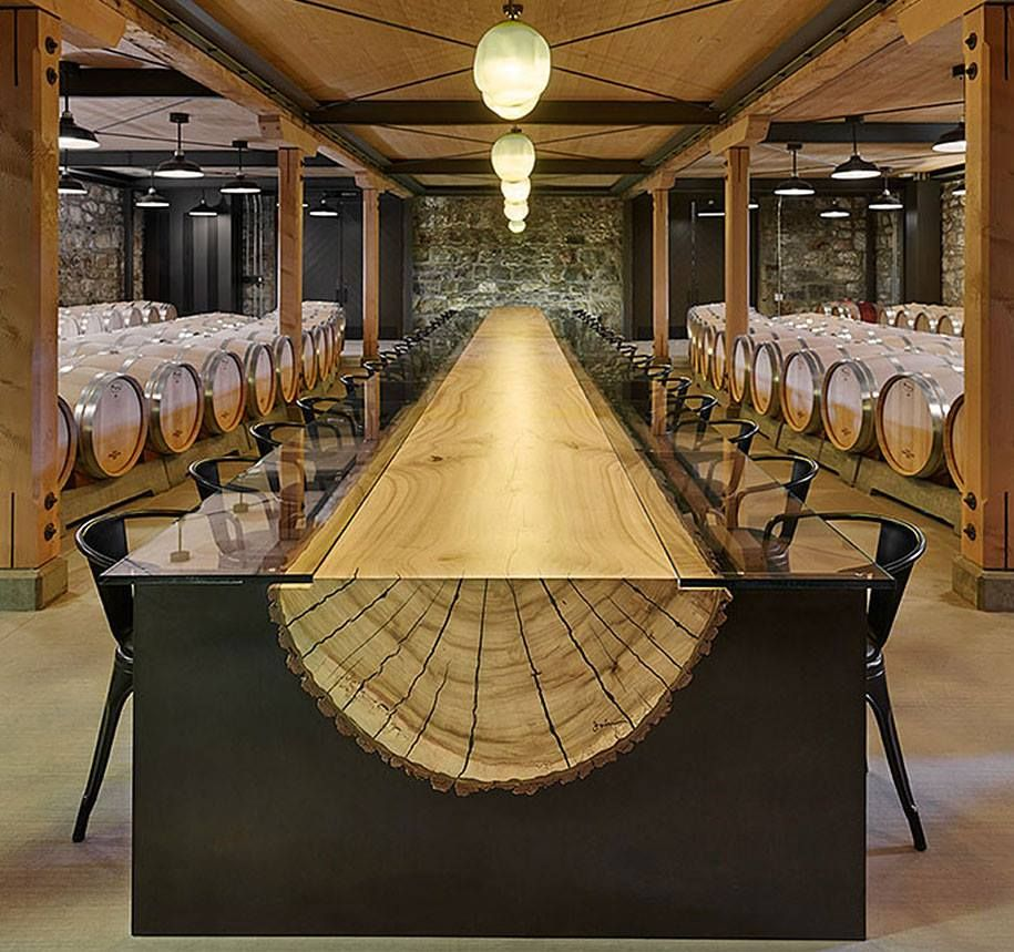 Table Made From Split Tree Trunk ♥ Everything  Pinterest Cool Tree Trunk Dining Room Table Design Decoration