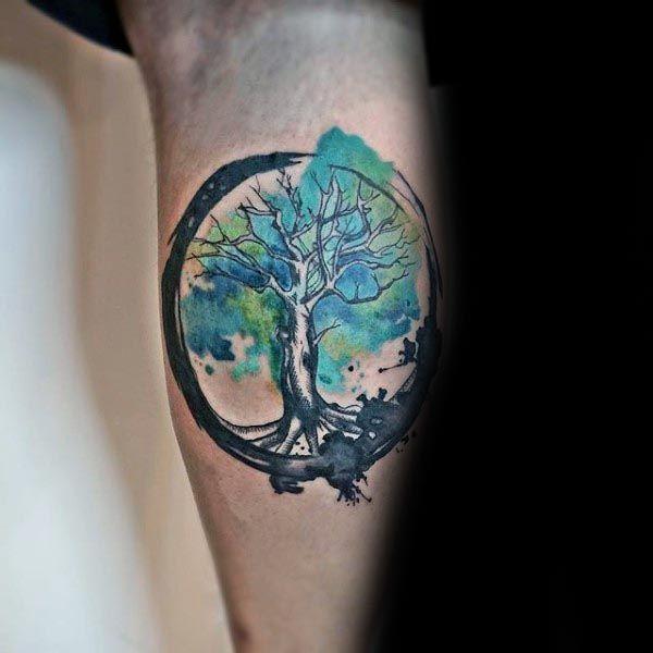 Leg Calf Tree Of Life Watercolor Shaded Green Paint Brush ...
