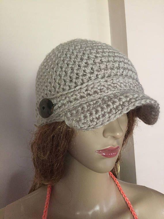 Crochet el sombrero de vendedor de periódicos en gris (chinchilla en ...