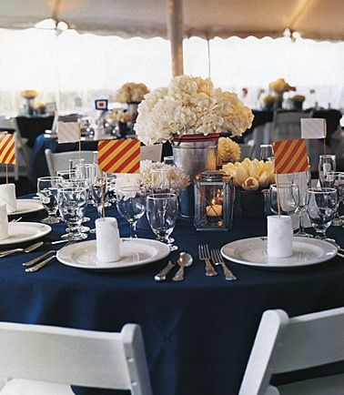 A Navy Tablecloth And Striped Accents Make For A Gorgeous Nautical Themed  Wedding Table Setting