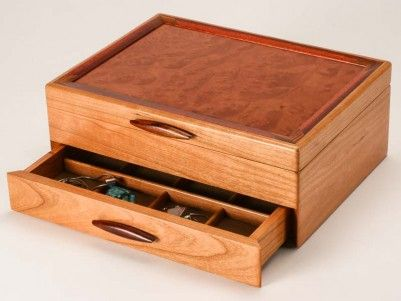 Prairie I Wooden Jewelry Box 1drawer shown Wooden Jewelry