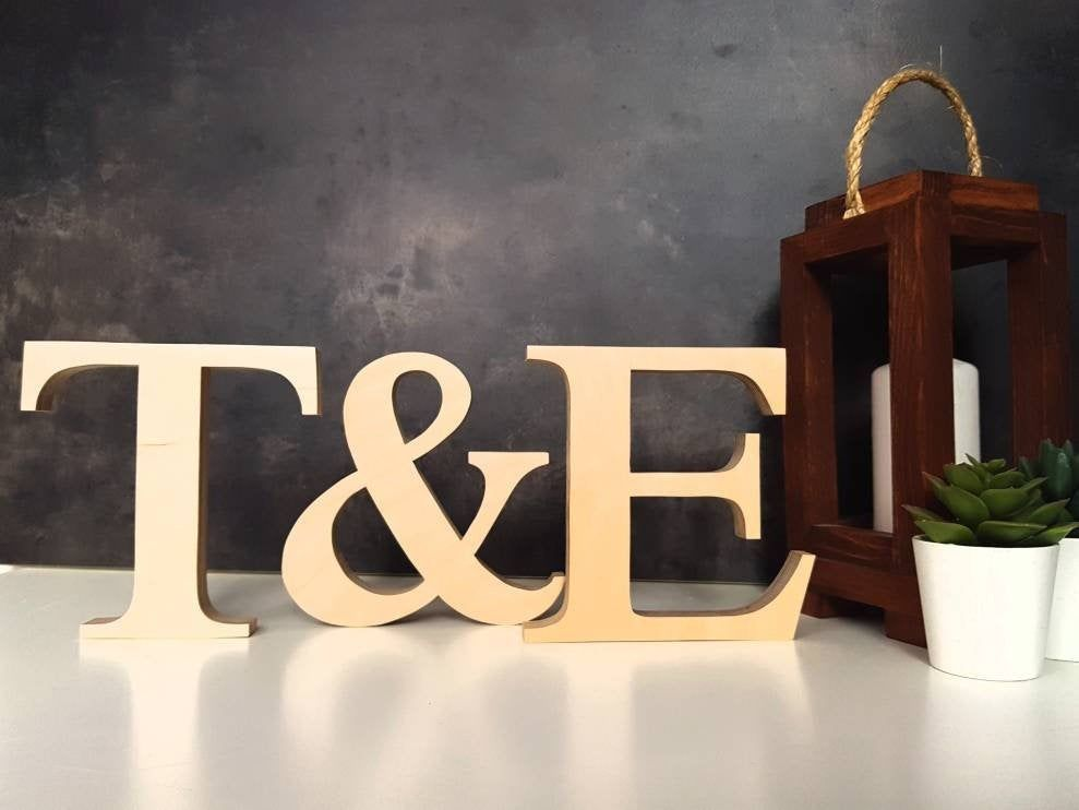 Wedding initials Rustic wedding decor Personalized bride and groom sign Wood letters