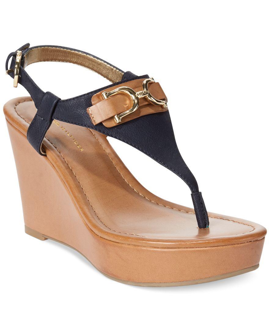 970422034402e Tommy Hilfiger Women s Myrtie Platform Wedge Thong Sandals
