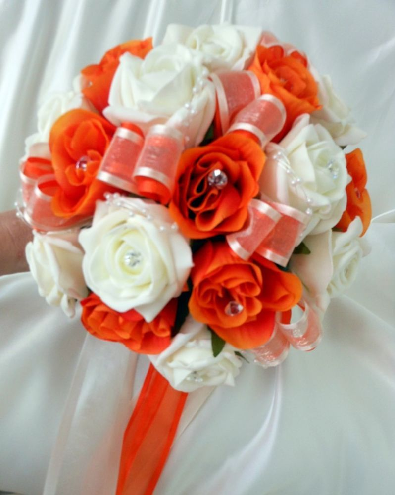 Bridesmaids Wedding Bouquet Orange Silk And Ivory Foam Roses With