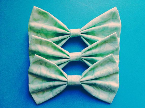 Vintage Mint Hair Bow/Bow Tie