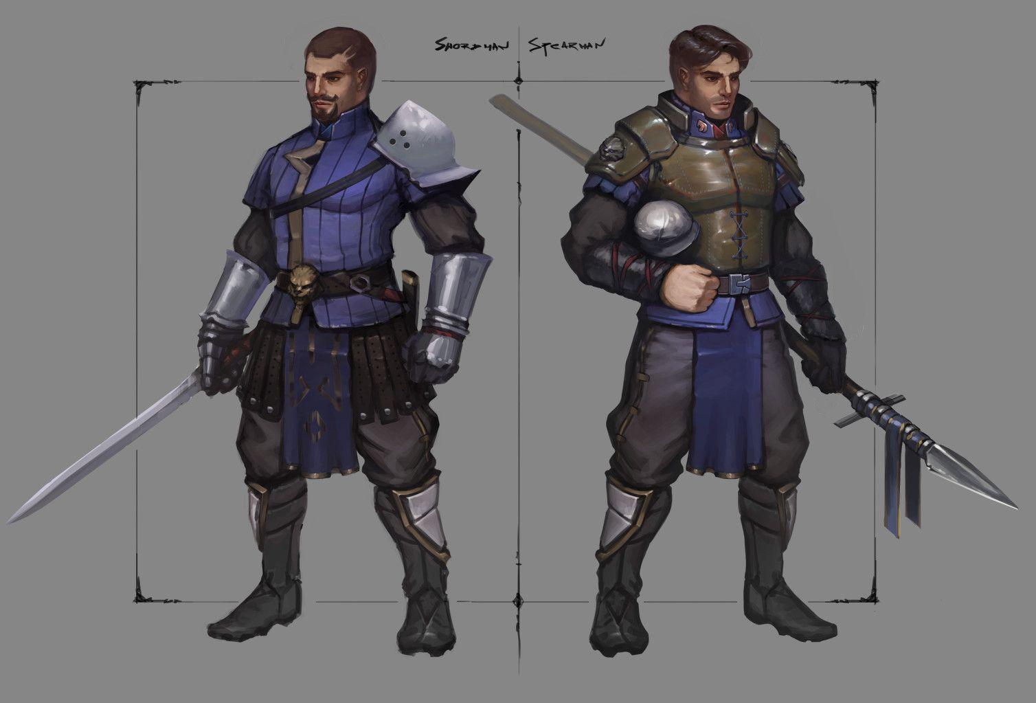 Swordman/Spearman, Wojtek Kołaciński on ArtStation at https://www.artstation.com/artwork/xB2lW
