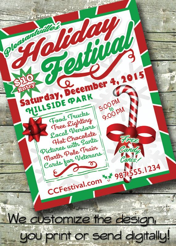 Christmas Contest Flyer.Community Christmas Festival Tree Lighting Holiday Party