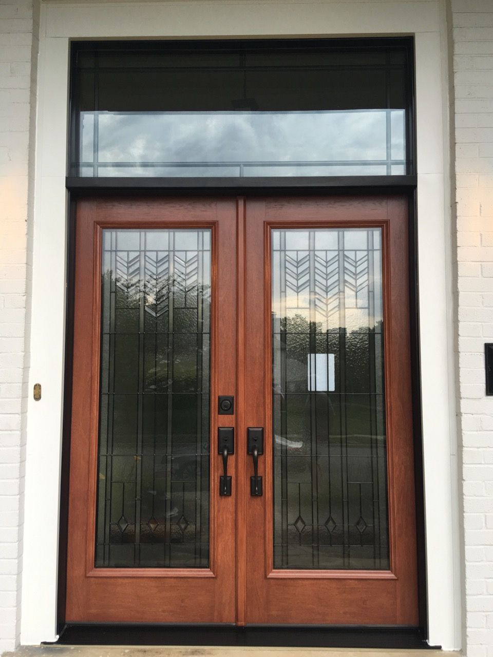 Provia Signet french entry doors with Barcelona glass and custom transom installed by Nova Exteriors in & Provia Signet french entry doors with Barcelona glass and custom ...