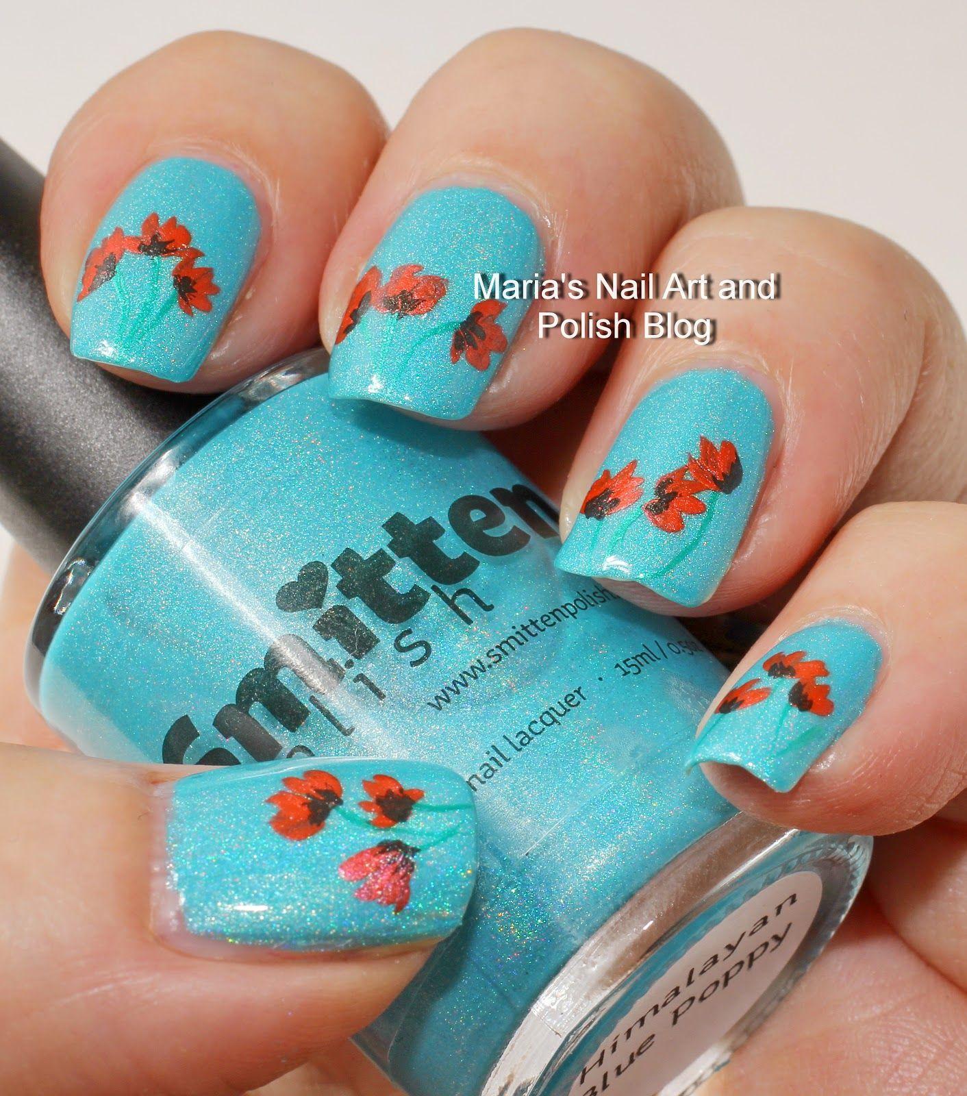 Red poppy nail art on Himalayan Blue Poppy