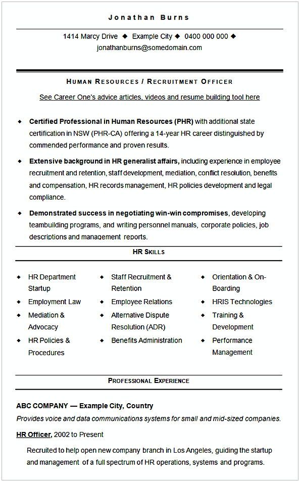 Sample CV Template HR Recruitment , HR Manager Resume Sample , This
