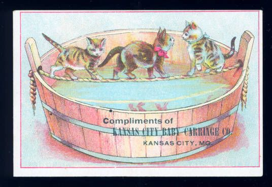 Advertising card for the Kansas City Baby Carriage Co. showing three kittens walking on a rope suspended over a large bucket of water.