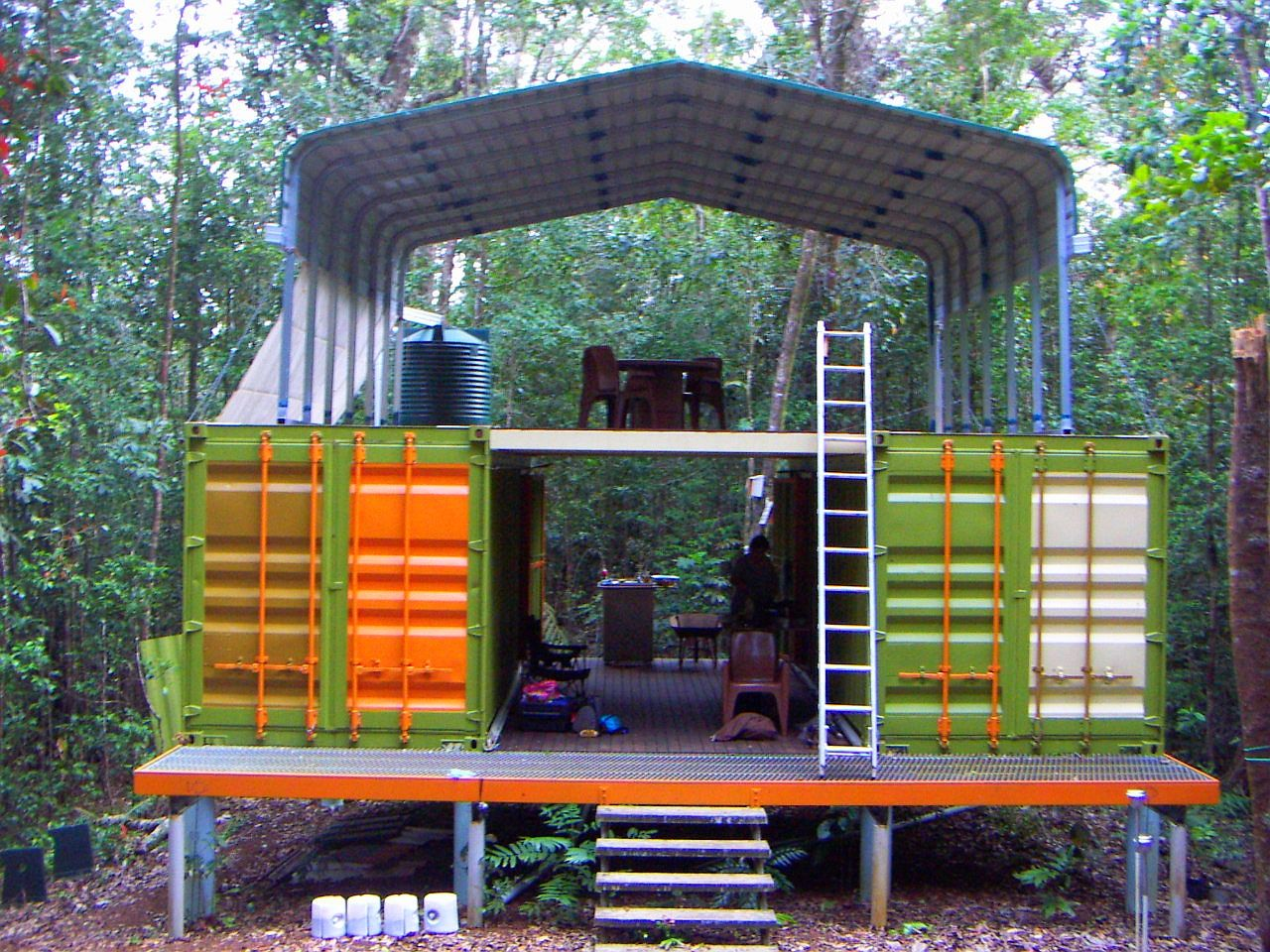 Homes Made From Containers nice hybrid with steel carport & great colors. link to step-by