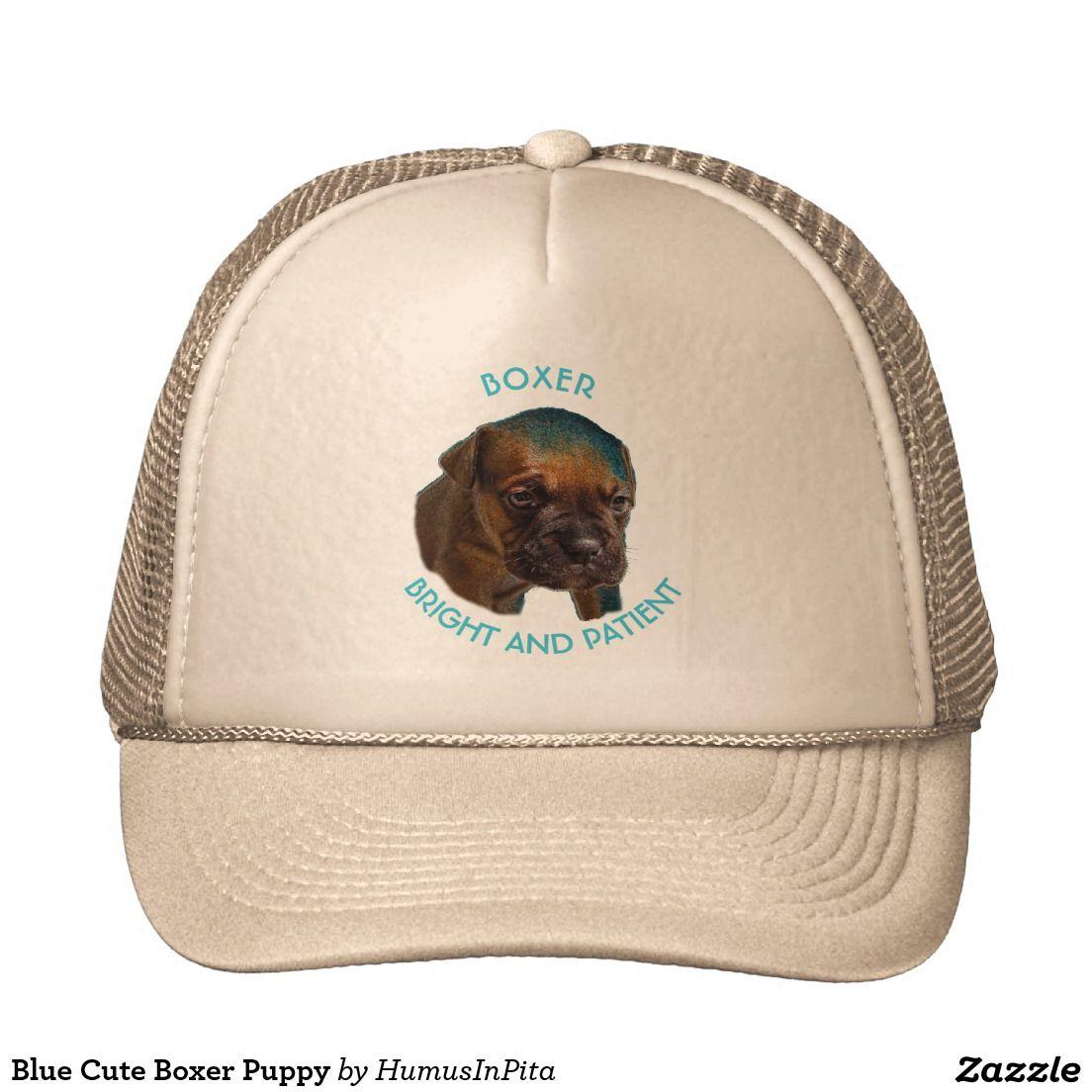 Blue Cute Boxer Puppy Trucker Hat