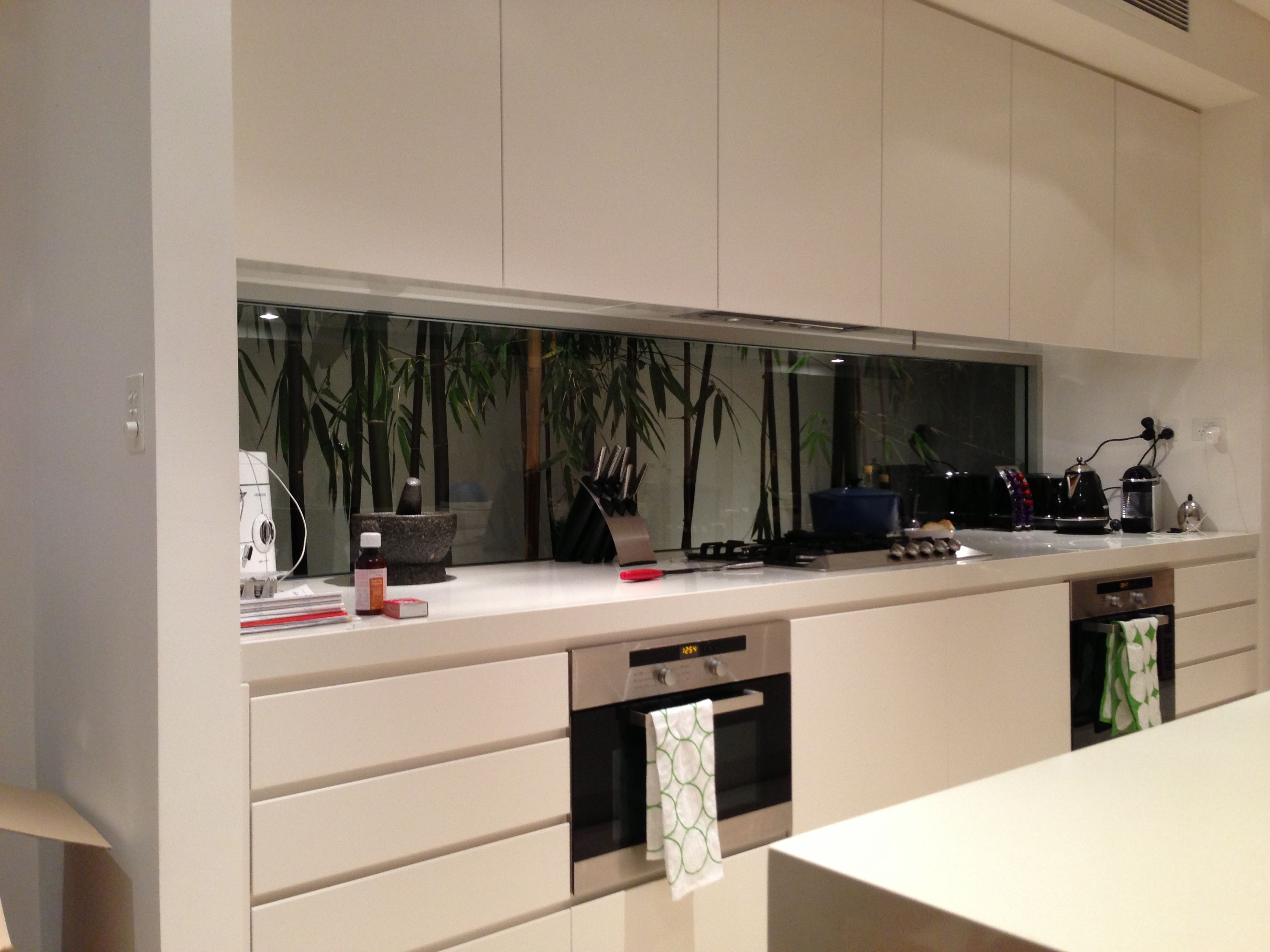 Bamboo Backsplash Kitchen Glass Splashback Behind Bamboo Kitchen
