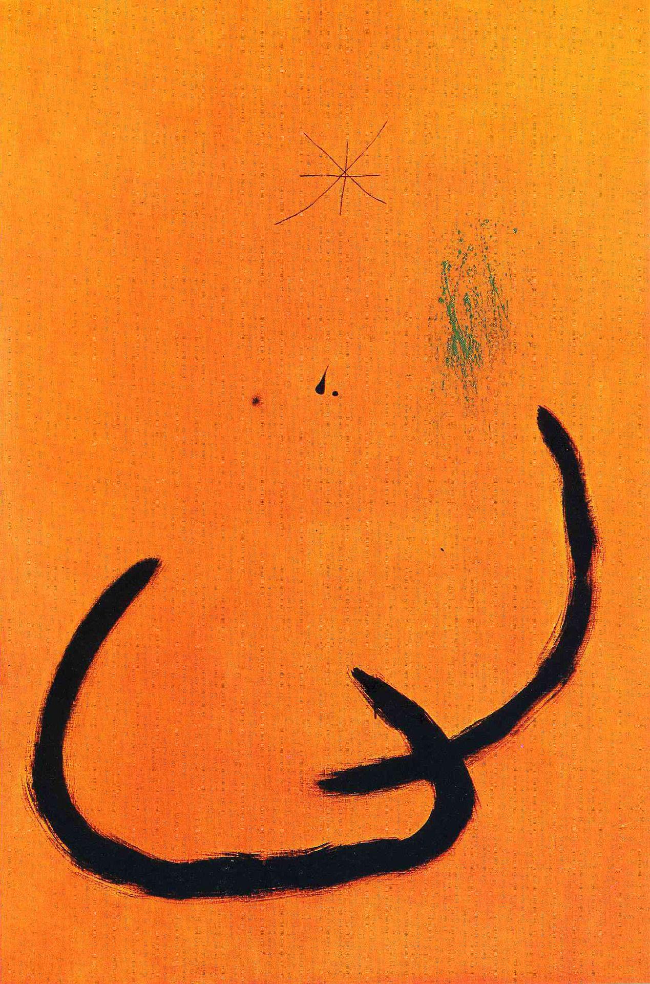 """Joan Miró """"Drop of water on the pink snow""""/ """"Goutte d''eau sur la neige rose"""" 1968 oil on canvas"""