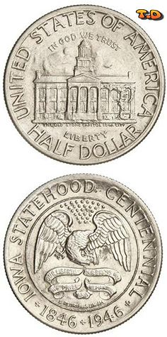N T ½ Dollar Iowa Country United States Year 1938 Value 1 2 0 50 Usd 45 Eur Metal Silver 900 Weight 12 G Diameter 30 60 Mm