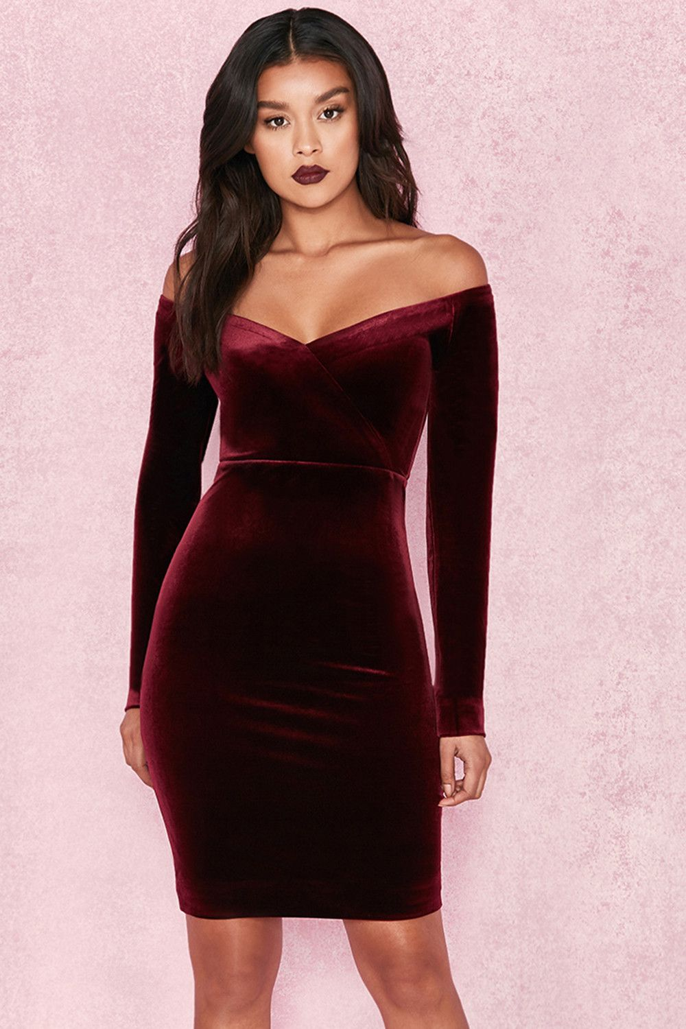 0f5a78dacb59 Clothing   Bodycon Dresses    Martinella  Wine Velvet Off Shoulder Dress