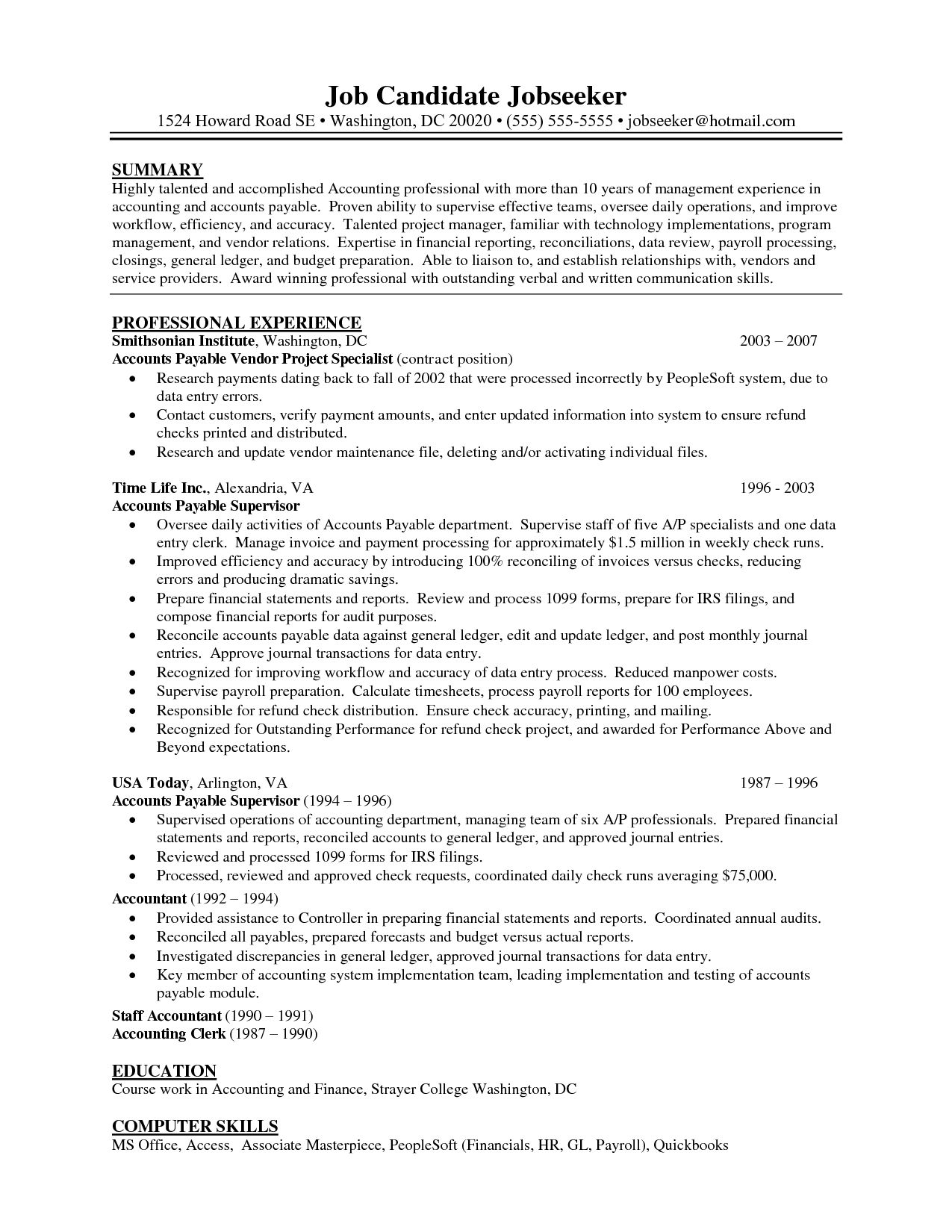 Accounts Payable Resume Samples Amazing Resume Examples Accounts Payable  Pinterest  Resume Examples