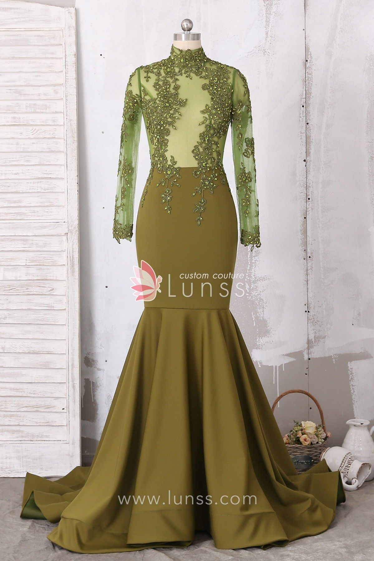 0c603821b7a Illusion Olive Green Lace Jersey Mermaid Prom Dress with Ruffled Hem ...