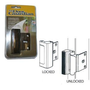 Childproof Deadbolt For Inward Swinging Doors Antique Brass Finish By Technologylk 25 95 The Door Guardian Chi Swinging Doors Security Locks Childproofing