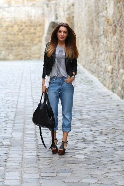 5. Denim & Leather - 7 Fabulous Ways to Wear a Denim Jacket ...