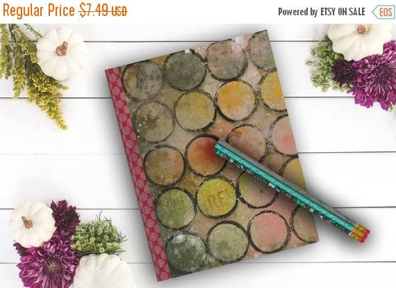 BLACK FRIDAY SALE Ink Circles Mixed Media Notebook by Teakberry