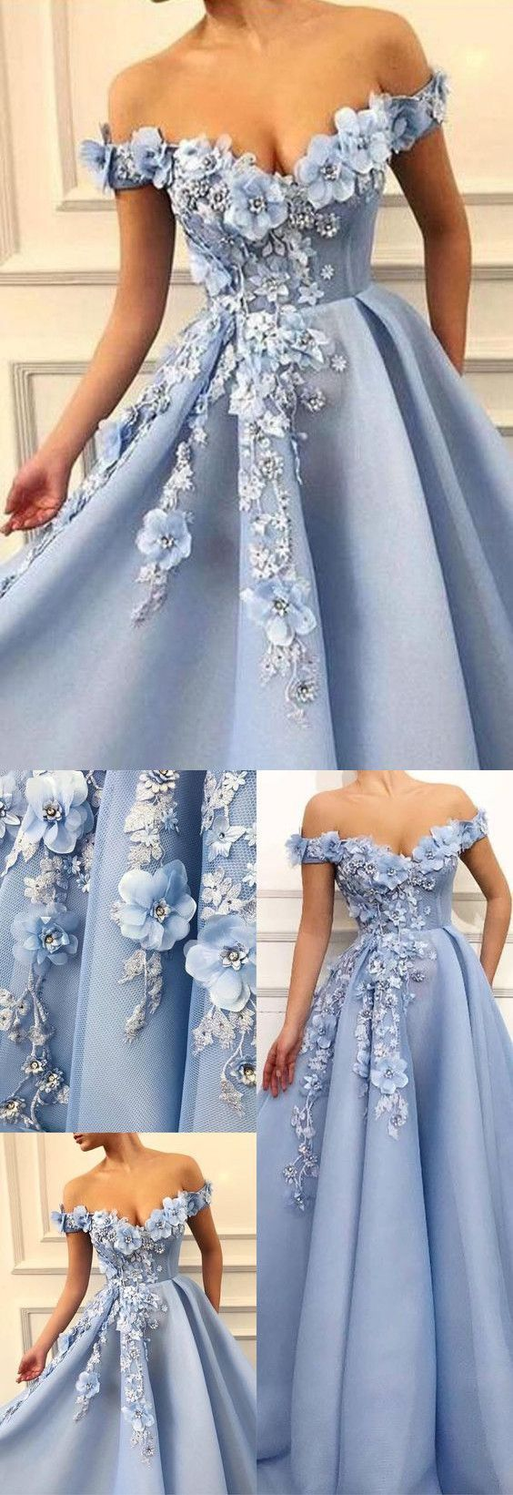 A-line Off-the-shoulder Long Prom Dress With Floral Formal Dresses